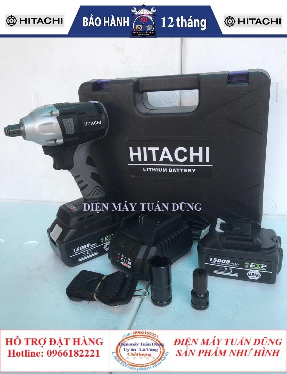 Máy siết bulong Hitachi 88V 2 Pin 15000 mAh - Tặng kèm bộ phụ kiện - 1 đầu siết bulong - 1 đầu chuyển vít