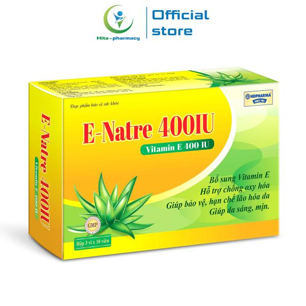 Viên uống Vitamin E, tinh dầu lô hội E-Natre 400 IU giúp đẹp da, chống lão hóa da - Hộp 30 viên giá rẻ