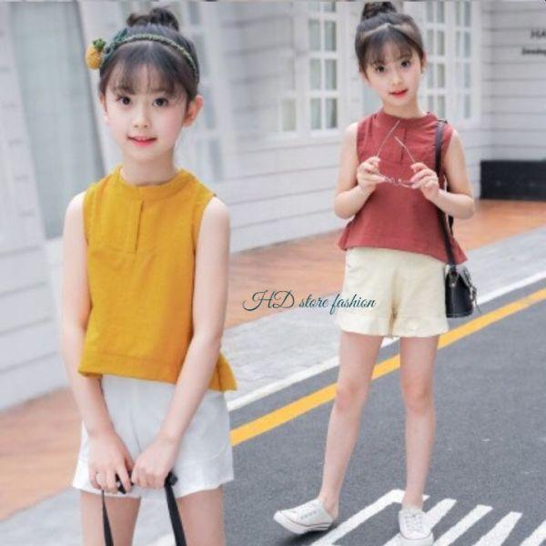 Giá bán đồ bộ bé gái , set đồ sành điệu quần đùi không tay chất vải mát cho bé 0050