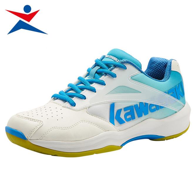 Giày cầu lông Kawasaki K-171 chuyên nghiệp nam nữ, để kếp, chống lật cổ chân, màu trắng xanh, giày đánh cầu lông, giày chơi bóng chuyền giá rẻ