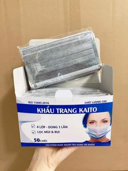 khẩu trang y tế KAITO than hoạt tính 4 lớp hộp 50 cái 1 hộp ( Xám )