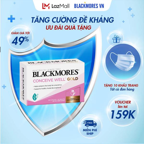 Blackmores Conceive Well Gold 56 viên - Viên uống tăng khả năng thụ thai, bổ trứng cho nữ giới Blackmore Úc - Haloco VN