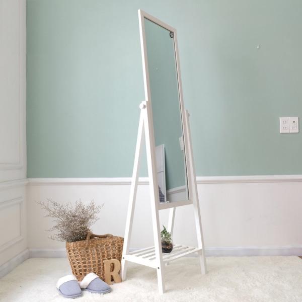 Gương đứng phối kệ khung gỗ hàn quốc thiết kế mới, màu trắng