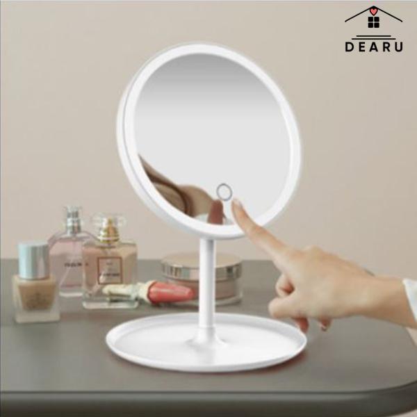 Gương trang điểm có đèn led ánh sáng 3 cấp độ, Gương trang điểm pin sạc USB, Bảo hành 1-1