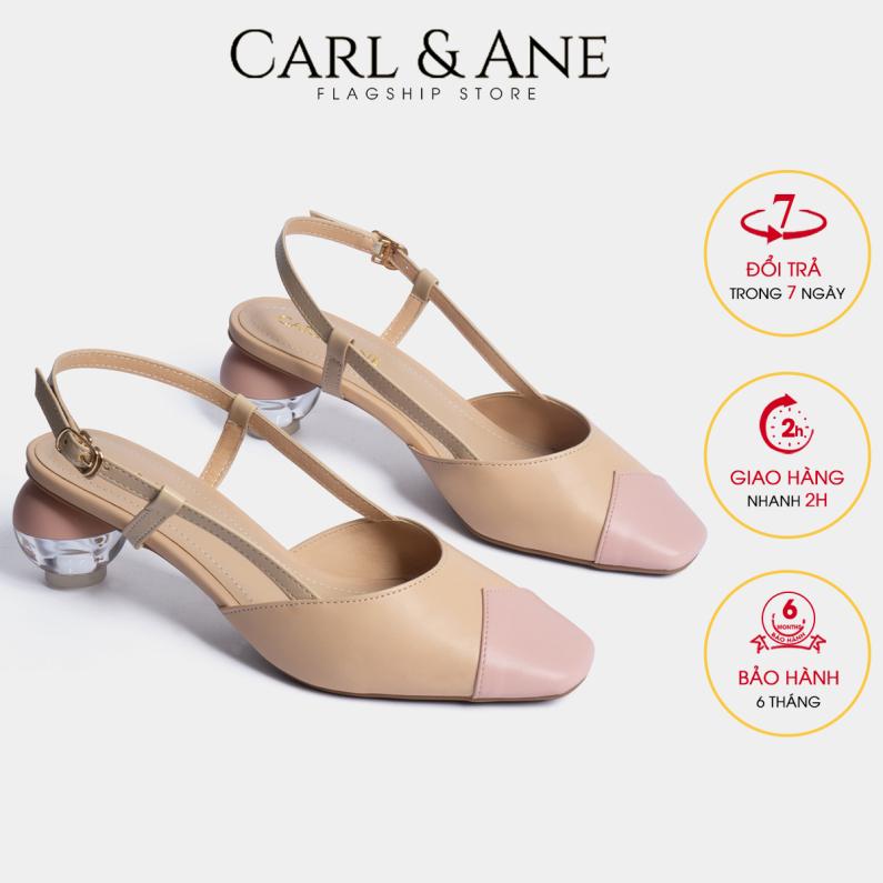 Carl & Ane - Giày cao gót thời trang mũi vuông vá si gót mica trong phối dây tinh tế cao 5cm CL007 (NU) giá rẻ