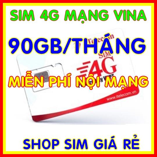 Sim 4G Vina Gói 3GB/ngày (90GB/tháng) Hãng Itelecom + Miễn Phí Gọi Nội Mạng Vinaphone - Giống Như Sim 4G Vinaphone VD89P (VD89 Plus) - Shop Sim Giá Rẻ Có Giá Tốt
