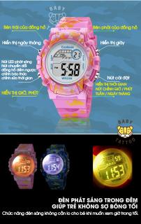 [MIỄN PHÍ GIAO HÀNG] Đồng hồ trẻ em đa chức năng kết hợp hiệu ứng đèn Lex 7 màu chính hãng Coobos 6