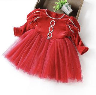 Váy thu đông nhung tết cho bé gái màu đỏ siêu đẹp 8-22kg KBSV30, chất liệu nhung mềm mại, phần chân váy là ren 3 lớp rất ấm