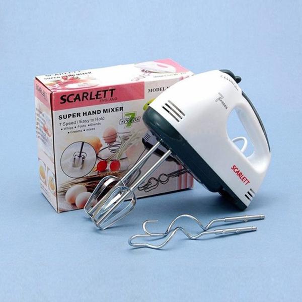Máy Đánh Trứng Cầm Tay Cao Cấp Scarlett -  180W và 7 Tốc độ - TẶNG 2 QUE NHÀO BỘT
