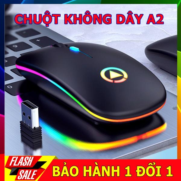 Bảng giá Chuột không dây A2 thiết kế thon gọn, không tạo tiếng ồn, có cổng micro USB để sạc, Led 7 màu sinh động Phong Vũ