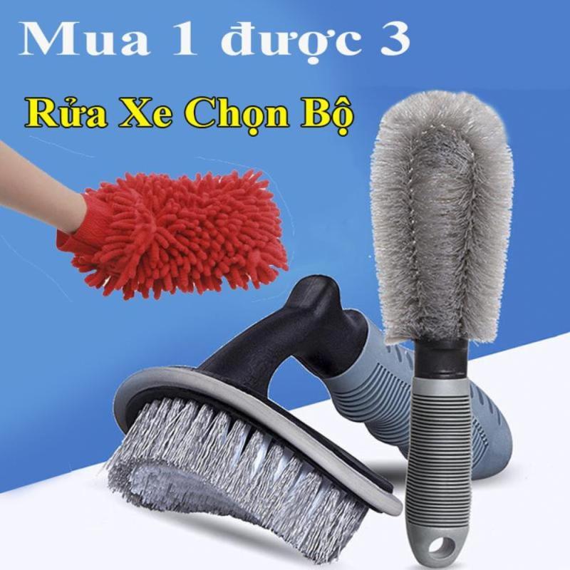 Bộ 3 dụng cụ rửa xe ô tô và xe máy chất liệu PVC chất lượng cao, găng tay hai mặt lông