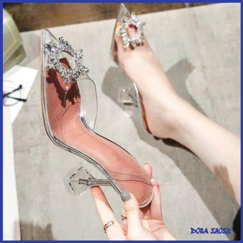 [BẢO HÀNH 12 THÁNG] giày cao gót quai trong gót nhọn 7cm đính đá mặt trời  - sandal cao gót quai trong - dép guốc cao gót quai trong giá rẻ
