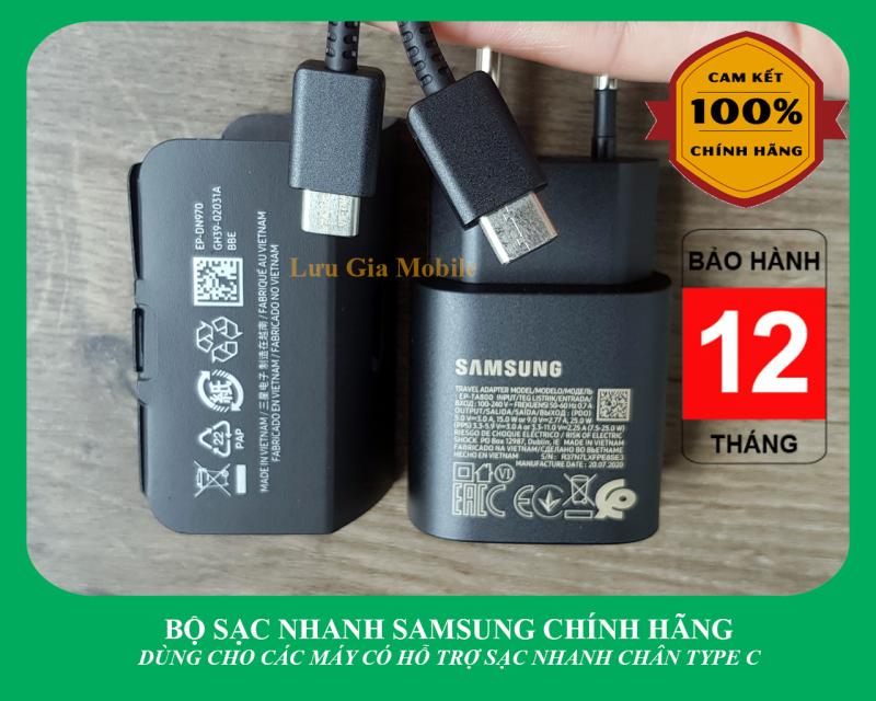 Bộ sạc nhanh Samsung Galaxy 25W công ty Note 10 Note 20 A71, A70, A80, A90, S20, S20FE S20+, S20 Ultra