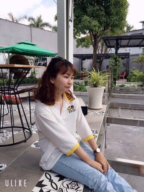 Áo thun nữ tay lỡ màu trắng có cổ phối viền cực dễ thương
