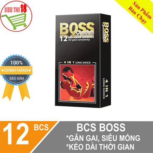 [ 12 BCS ] hộp Bao cao su Boss 4 in 1 kéo dài thời gian - Gân Gai hộp 12 BCS [sieuthi18]