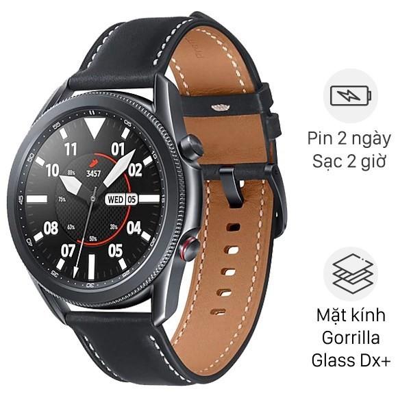 Đồng hồ Samsung Galaxy Watch 3 45mm viền thép đen dây da