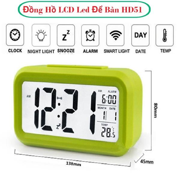 Nơi bán Đồng hồ báo thức đèn LED - kiêm đồng hồ báo thức, làm đèn ngủ,4.6 -  Cảm Biến Ánh Sáng Yếu, Nhiệt Độ, Độ Sáng Của Đèn Nền, với Pin Dimmer Hoạt động Màn hình LCD lớn Hiển thị Nhiệt độ Đèn ngủ - Bảo hành 1 đổi 1