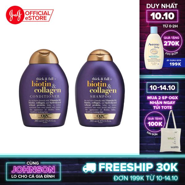 Bộ 2 Dầu gội và dầu xả OGX Thick & full + biotin & collagen 385ml giá rẻ