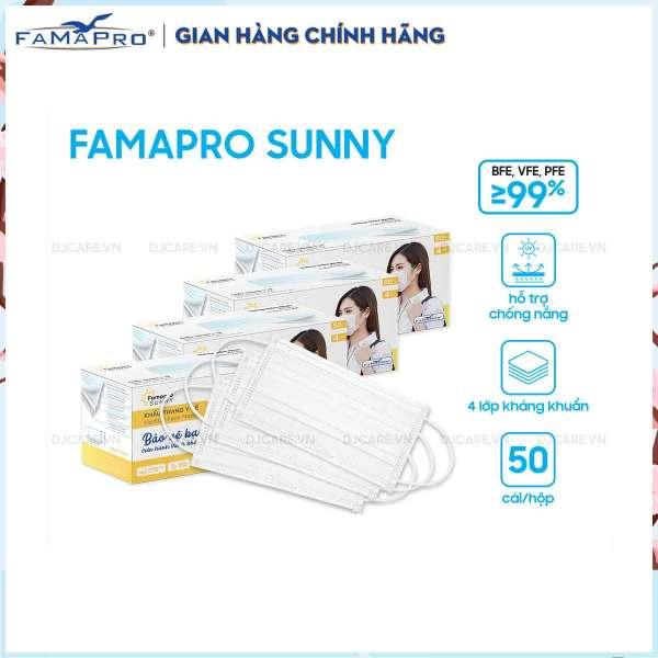 Combo 4 hộp khẩu trang y tế kháng khuẩn 4 lớp Famapro Sunny (50 cái/ hộp)