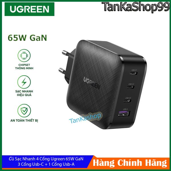 Củ Sạc 4 Cổng Ugreen 65W GaN, 3 Usb-C + 1 Usb-A, Sạc Nhanh Iphone,Samsung,Huwei,Macbook,Laptop,...