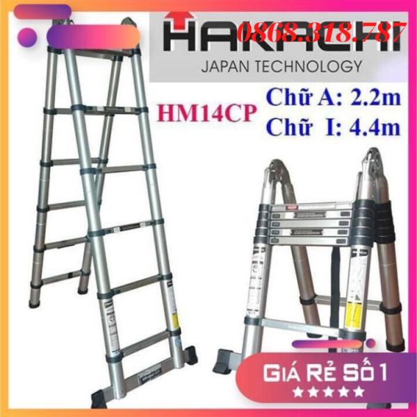 Thang Nhôm HAKACHI HM14CP - 4M4 - Chữ A 2M2 + 2M2 - BH 24 Tháng. . MỚI 2019