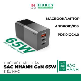 Củ sạc cực mạnh siêu nhanh 65W Hukey HC-G31 cổng USB, cổng Type-C Hỗ trợ QC 4.0, QC 3.0, PD 3.0 cho điện thoại Iphone 11 Pro, MacBook Pro, Samsung, Xiaomi, Huawei - Chính hãng thumbnail