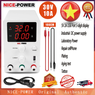 NICE-POWER Variable Adjustable 0-30V 0-10A DC Power Supply 3 Digital Display 5V 2A USB port Lab aging test cellphone repair plating factory Power R-SPS3010 thumbnail