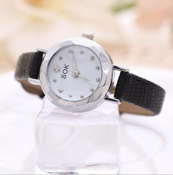 Đồng hồ nữ SOK mặt vát 3D dây da xinh xắn