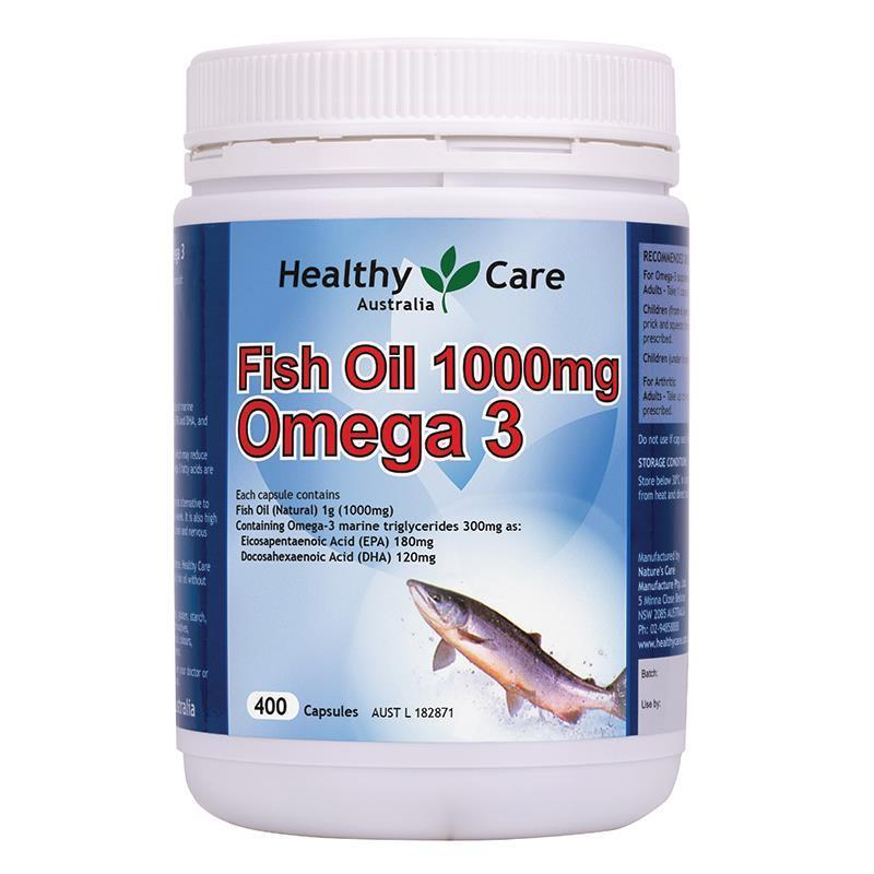 Dầu cá fish oil Omega 3 Healthy Care 1000mg, 400 viên