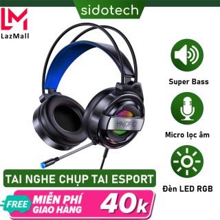 Tai nghe chụp tai gaming máy tính SIDOTECH Q3 loại tai nghe chơi game chính hãng âm thanh 7.1 có mic 360 độ LED RGB lọc âm chống ồn chụp tai Over Ear êm ái cho game thủ chơi PUGB CSGO Liên Minh trên máy tính bàn pc laptop thumbnail