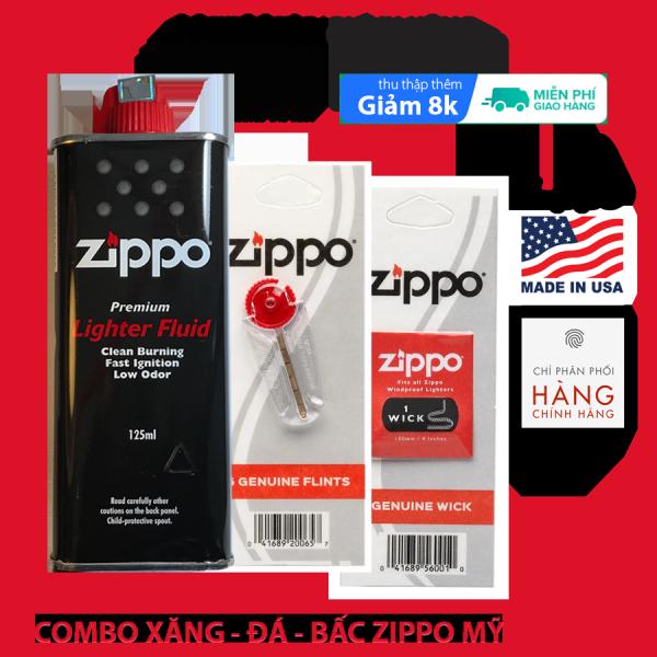 Combo xăng đá bấc Zippo chính hãng mỹ (made in USA) - dùng bơm bật lửa zippo và tẩy rửa đa năng - ManMate - 125ml