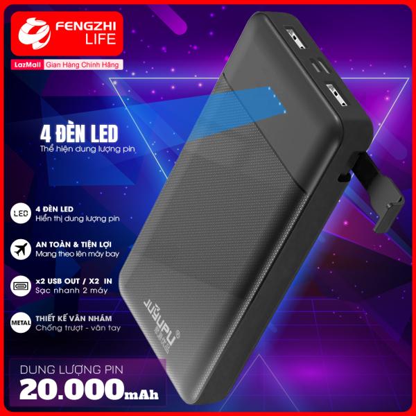 Sạc dự phòng kèm giá đỡ điện thoại, pin sạc dự phòng 20000mAh, cục sạc dư phòng có đèn led hiển thị dung lượng pin, cổng USB 2A, dùng được cho điện thoại iPhone, OPPO, Samsung BH 1 Năm PX-20L