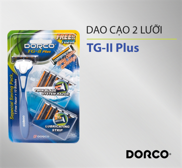 [HCM]Dao cạo râu 2 lưỡi DORCO TG-II Plus System + 10 đầu thay thế