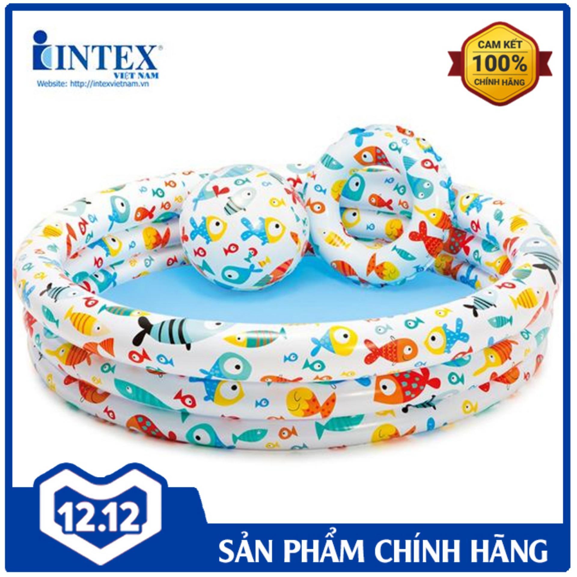 Bộ Bể 1m32 + Bóng + Phao Intex 59469 - Hồ Bơi Cho Bé Mini, Bể Bơi Phao Trẻ Em Bất Ngờ Ưu Đãi Giá