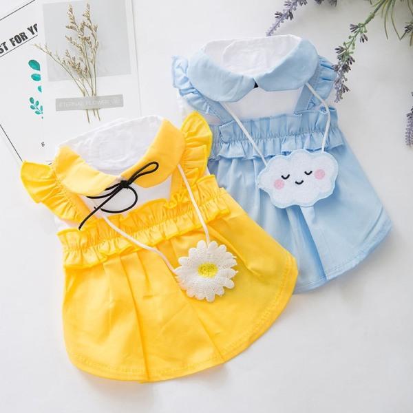 Váy cho thú cưng - váy đầm lolita cổ thắt nơ phía sau có túi đeo chéo dành cho các quý cô chó mèo xinh đẹp