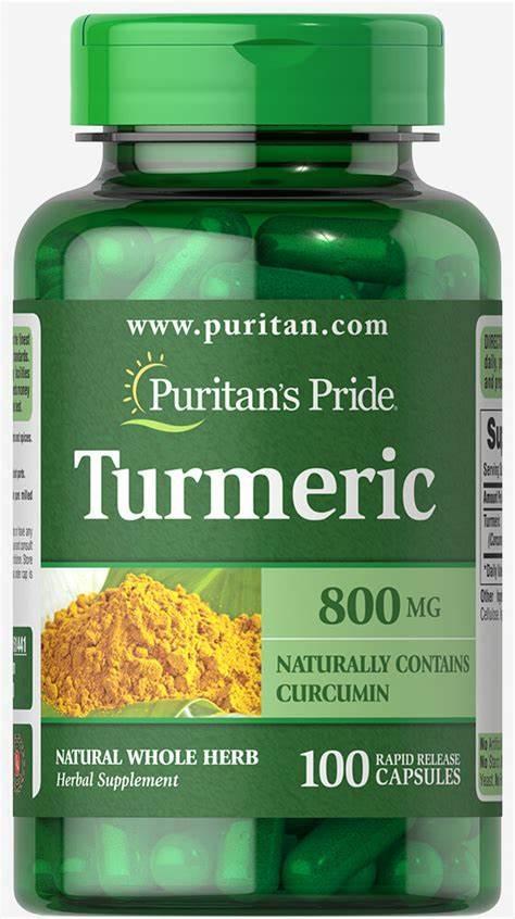 Viên uống tinh chất nghệ hỗ trợ hệ tiêu hóa, dạ dày, giảm viêm khớp, chống oxy hóa, chống viêm Puritans Pride Turmeric 800mg 100 viên HSD tháng 05/2020