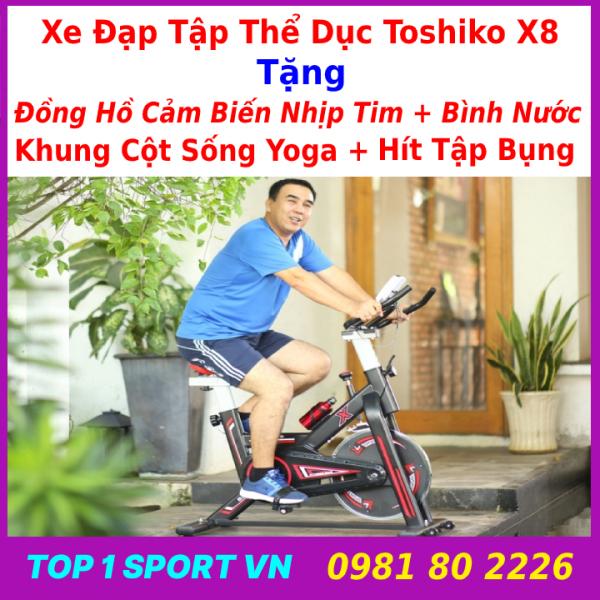 Xe đạp tập thể dục tại nhà   xe đạp tập gym   xe đạp tập thể thao tại nhà Toshiko X8 GH709 chính hãng - tặng Đồng hồ 6 chỉ số + cảm biến nhịp tim + bình nước thể thao Xsport - bảo hành 36 tháng