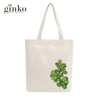 Túi Vải Tote GINKO Kiểu Basic Dây Kéo In Hình cây lá G47 thumbnail