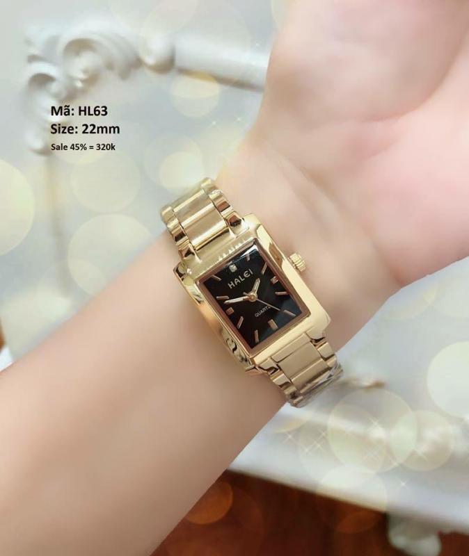 đồng hồ nữ mặt vuông halei dây vàng mặt đen,chống nước,chống xước tốt HLA342279