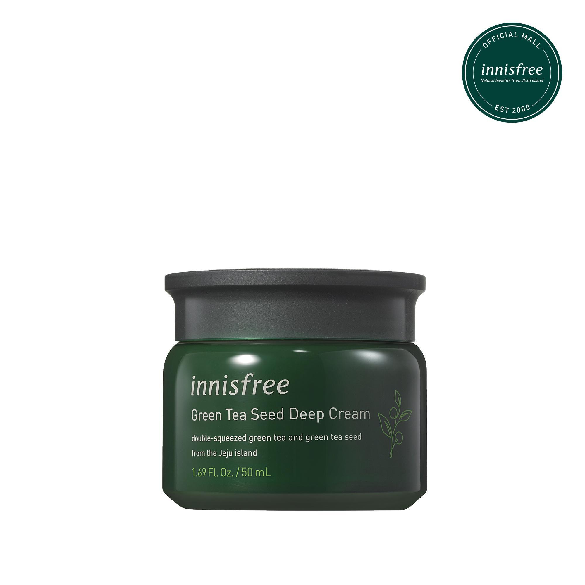 Kem dưỡng tăng cường độ ẩm phục hồi da từ trà xanh và dầu hạt trà xanh tươi Innisfree Green tea Seed Deep Cream 50ml - NEW