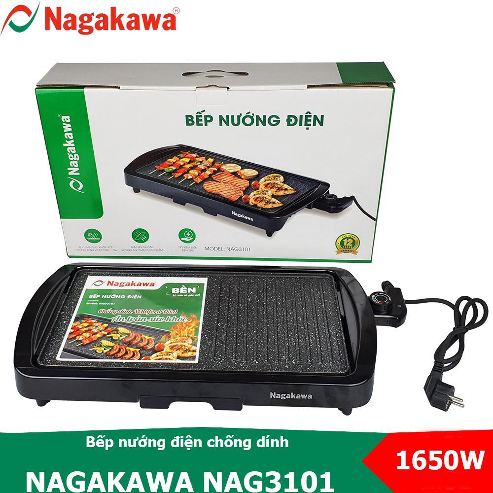 Deal Khuyến Mãi Bếp Nướng điện Không Khói 1650W, Nguyên Khối Cao Cấp Nagakawa NAG3101