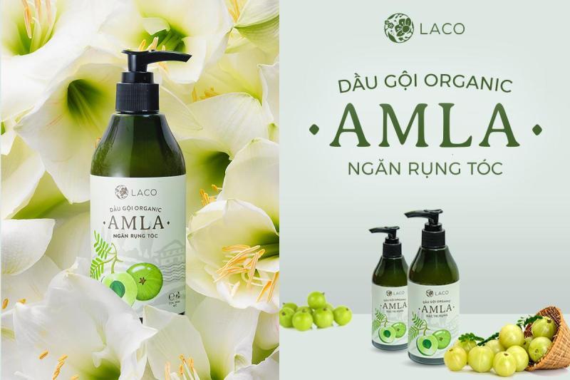 Dầu gội dầu ngăn rụng tóc AMLA ORGACNIC, không chứa hóa chất, ngăn gãy rụng và kích thích mọc tóc - Chai 300ml cao cấp