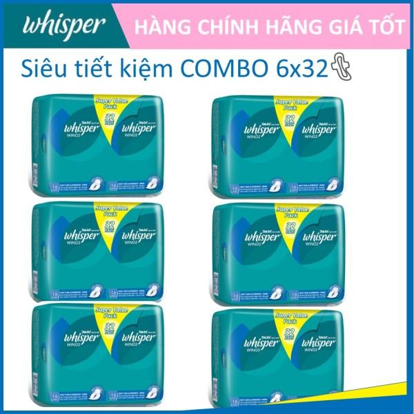 COMBO 6 gói Whisper Cánh dày đêm 32 miếng