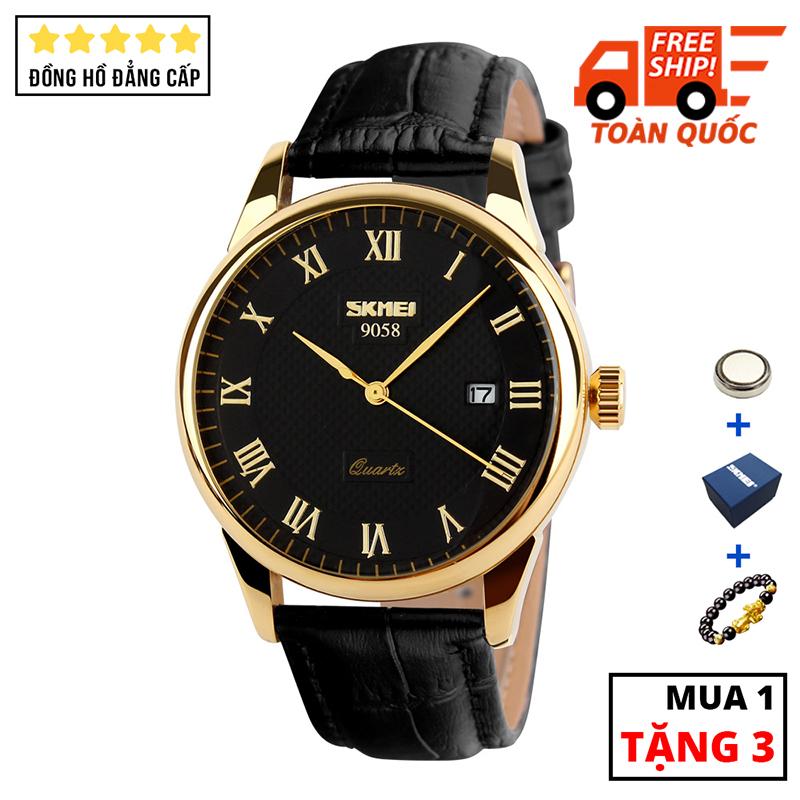 Đồng hồ nam cao cấp dây da chống nước SKMEI SK021 - Arman Watches (Đen)