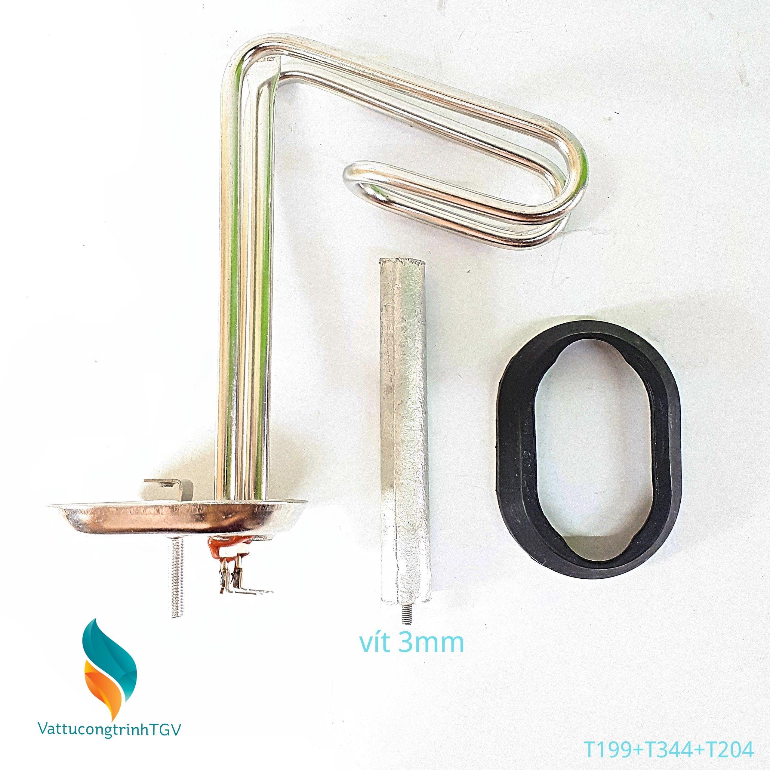 Bộ sợi đốt đa năng bát 6,5*20+13cm + Zoăng + Thanh magie 3mm cho Bình nóng lạnh ARISTON-PICENZA 15L (199+344+204)