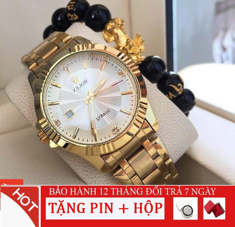Đồng hồ nam Ro.lex120 Mặt đính đá, Kính khoáng cường lực chống trầy xước, Size 39 mm [Liên quan: đồng hồ nibosi - đồng hồ casio - đồng hồ thông minh - đồng hồ dây thép - đồng hồ dây da - đồng hồ dây lưới - đồng hồ thời trang - Đ