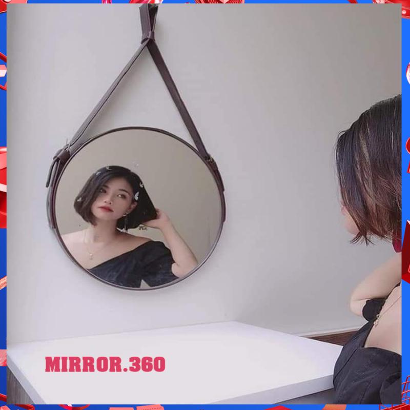 (Size 40cm) Gương Tròn Treo Tường Viền Da Simili (Màu Nâu sậm). Tặng kèm phụ kiện treo gương.