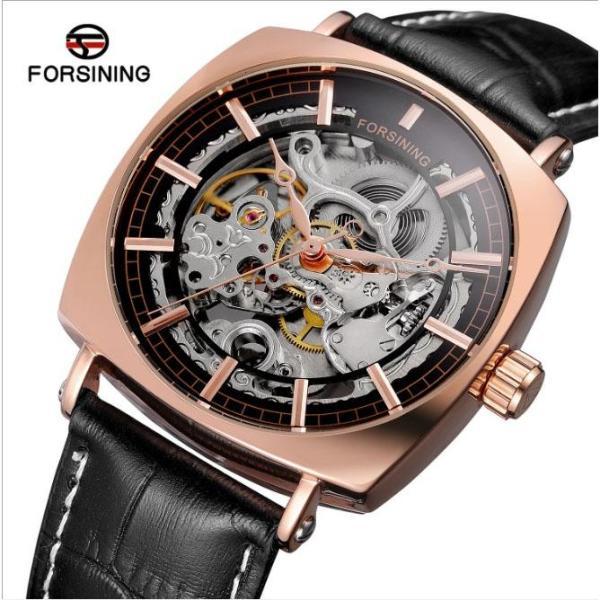 Đồng hồ cơ nam Forsining 242-G dây da lộ máy (M Mặt đen)