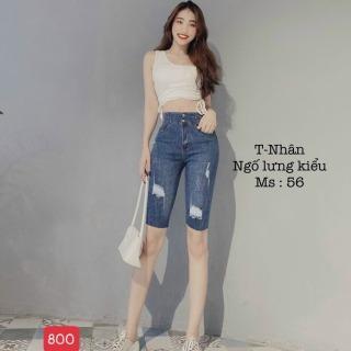 quần short jean nữ cao cấp win268 MẪU MỚI NHẤT 2021 M800 rách xước in thêu chuẩn shop màu xanh xám sáng thời trang An Nhiên Store an1024 thumbnail