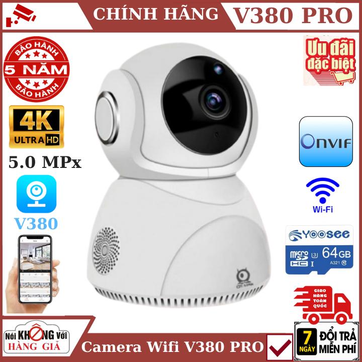 (Tùy Chọn Kèm thẻ nhớ 128GB - bảo hành 5 năm), Camera wifi V380 Pro Q8 , 5.0MPx , độ phân giải 4K , đàm thoại 2 chiều , xoay 360 độ , camera wifi ,camera ip , camera an ninh , camera giám sát , camera chống trộm